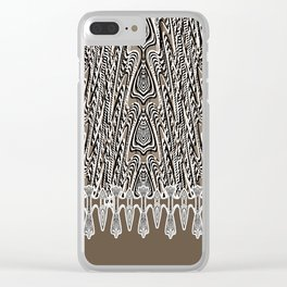 Dark Coffee Macramé Arrowhead Lace Pattern Clear iPhone Case