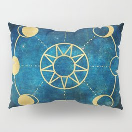 Gold Moon Phases Sun Stars Night Sky Navy Blue Pillow Sham