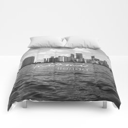 I'm in Miami - Black and white Comforters