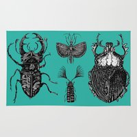 insects Area & Throw Rugs featuring Insects by Rebexi