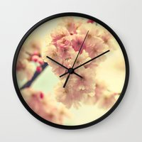 cherry blossoms Wall Clocks featuring cherry blossoms by Sylvia Cook Photography