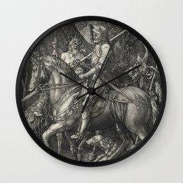 Albrecht Durer - Knight  Death And Devil Wall Clock