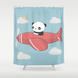 Kawaii Cute Panda Flying Shower Curtain