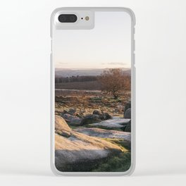 Owler Tor rock formations at sunset. Derbyshire, UK. Clear iPhone Case