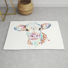Manitoba Cow - Colorful Watercolor Painting Rug