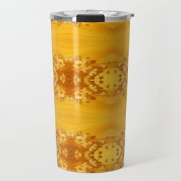 Golden Hibiscus Abstract Pattern Travel Mug