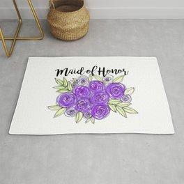 Maid Of Honor Wedding Bridal Purple Violet Lavender Roses Watercolor Rug
