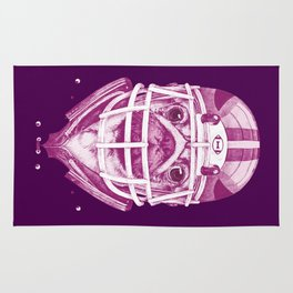 American Pug Football Purple Rug