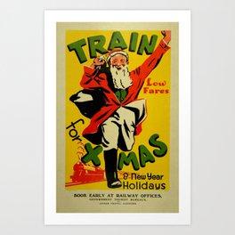 Vintage Santa Clause New Zealand Holiday Art Print