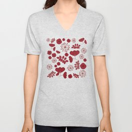 Marsala flowers pattern Unisex V-Neck