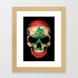 Dark Skull with Flag of Lebanon Framed Art Print