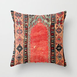 Sivas  Antique Cappadocian Turkish Niche Kilim Print Throw Pillow