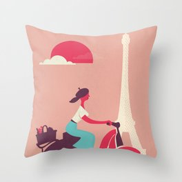 French girl on a Scooter Throw Pillow