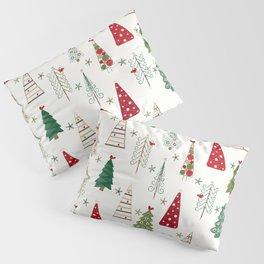 Scandinavian Christmas Trees Pattern - Red Green Pillow Sham