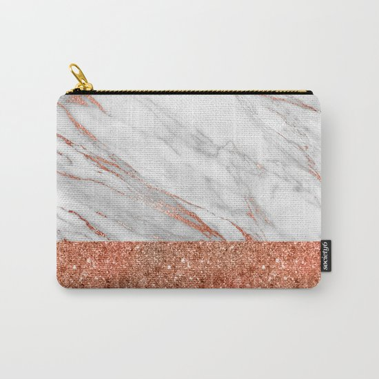 Luxury and glamorous pink glitter and white marble Carry-All Pouch