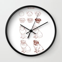 How to draw pug life Wall Clock