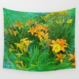 Day-glo Lilies Wall Tapestry