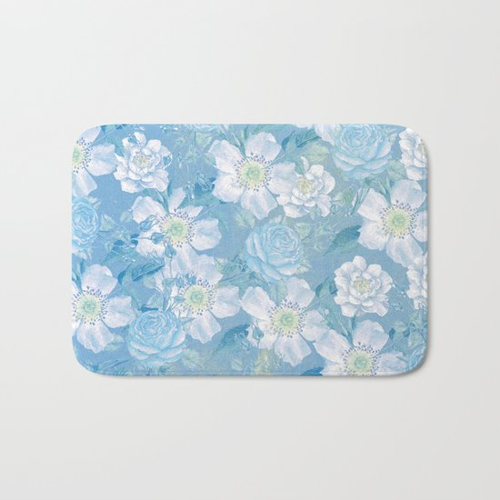 Blue Vintage Rose Pattern Bath Mat