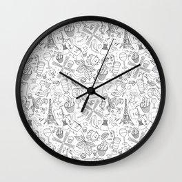 Paris doodle pattern Wall Clock