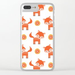 Orange Fox Clear iPhone Case
