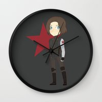 the winter soldier Wall Clocks featuring Winter Soldier by Nozubozu