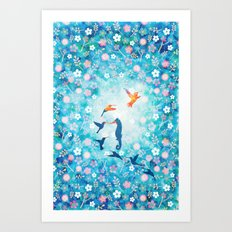 Flying bird , sea horse and flower pattern  Art Print