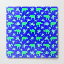 Wild African bright green little elephants, exotic tropical leaves whimsical cute blue pattern Metal Print