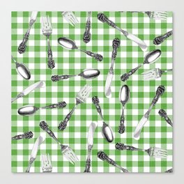 Utensils on Green Picnic Blanket Canvas Print