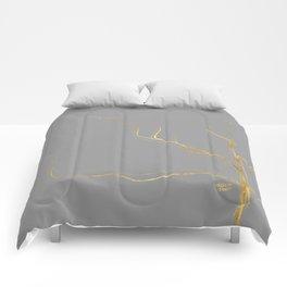 Kintsugi 3 #art #decor #buyart #japanese #gold #grey #kirovair #design Comforters
