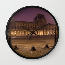 Louvre museum at night Wall Clock