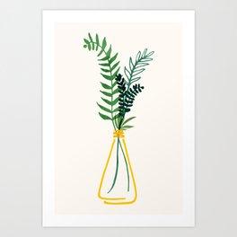 Simple Modern Greenery II / Watercolor Botanical Art Print