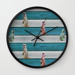 Meercat Beach Stripes Wall Clock