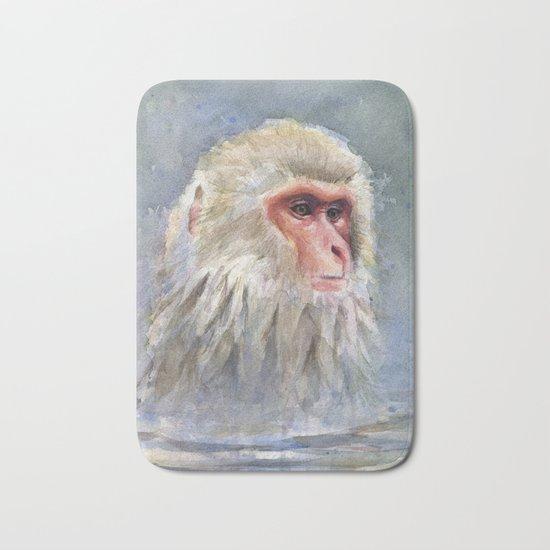 Snow Monkey Watercolor Animal Bath Mat