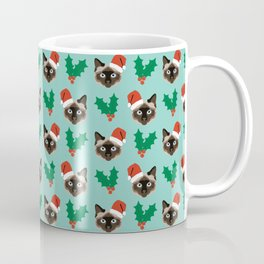 Siamese Cat cute christmas gift santa hat pattern mistletoe and holly wreath cats cute kitten gift  Coffee Mug