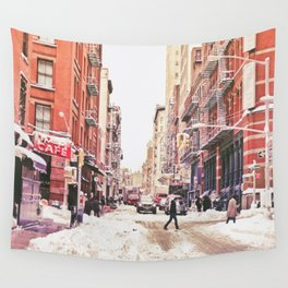 New York City Snow Soho Wall Tapestry