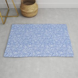 Coleus leaves pattern in blue and white Rug