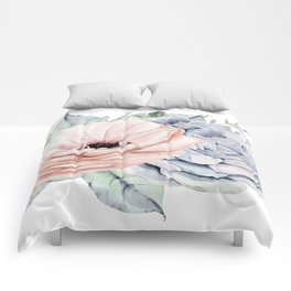 Pastel Succulents by Nature Magick Comforters