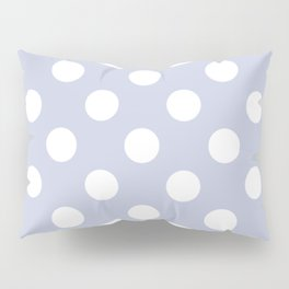 Light periwinkle - grey - White Polka Dots - Pois Pattern Pillow Sham