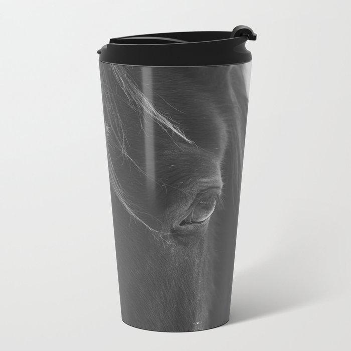 Close Up Black Horse Photograph Travel Mug