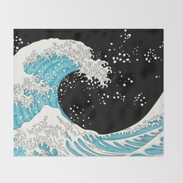 The Great Wave (night version) Throw Blanket