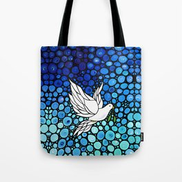 Peaceful Journey - Vibrant white dove by Labor Of Love artist Sharon Cummings. Tote Bag