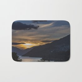 Sunset on Queenstown and Lake Wakatipu Bath Mat