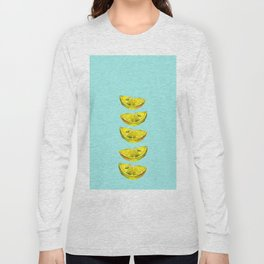Lemon Slices Turquoise Long Sleeve T-shirt