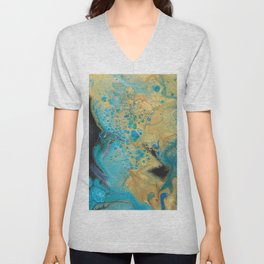 Fluid nature - Golden Sands -  Acrylic Pour Art Unisex V-Neck