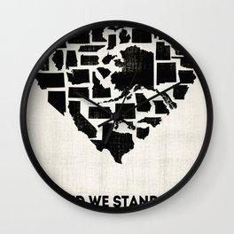 United We Stand - Black & White Wall Clock