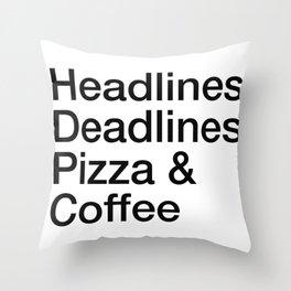 Headlines Deadlines Pizza Coffee Throw Pillow