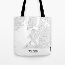 New York, United States Minimalist Map Tote Bag