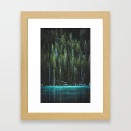Nature Photo - Turquoise Blue Lake and Tall Pines Framed Art Print