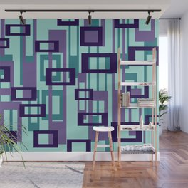 Geometric rectangles pattern violet Wall Mural