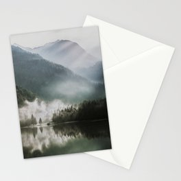 Dreamlike Morning at the Lake - Nature Forest Mountain Photography Stationery Cards